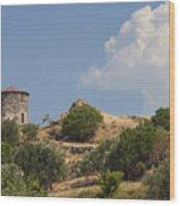 Cunda Island Greek Windmill Wood Print
