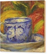 Cup And Fruit Wood Print