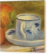 Cup And Oranges Wood Print