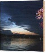 Cup Fireworks Wood Print