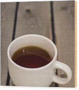 Cup Of Black Coffee On Bare Table Wood Print