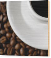 Cup Of Black Coffee On Coffee Beans Wood Print