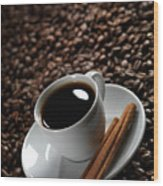 Cup Of Coffe On Coffee Beans Wood Print