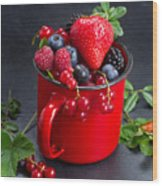 Cup Of Fresh Berries Wood Print