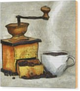 Cup Of The Hot Black Coffee Wood Print