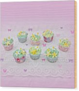 Cupcakes And Butterflies Wood Print