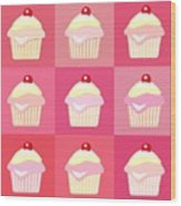 Cupcakes Pop Art  Wood Print