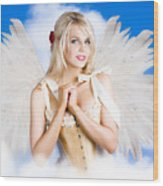 Cupid Angel Of Love Flying High With Fairy Wings Wood Print