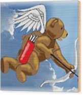 Cupid Bear Wood Print