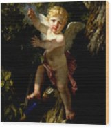 Cupid In A Tree Wood Print