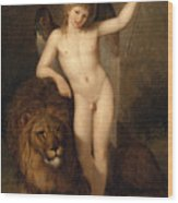 Cupid With A Lion Wood Print