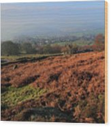 Curbar Edge Curbar Valley Derbyshire Wood Print