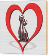 Curiosity Heart Loves The Cats Wood Print