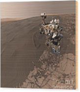 Curiosity Rover Self-portrait Wood Print