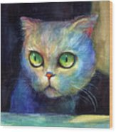 Curious Kitten Watercolor Painting  Wood Print