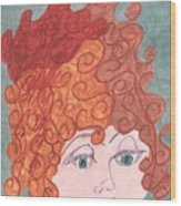 Curly Red Hair Wood Print