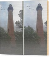 Currituck Beach Light Station - 3d Stereo Crossview Wood Print