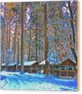 Curry Cabins Christmas Day Wood Print