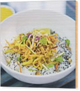 Curry Sauce Vegetable Salad With Noodles And Sesame Wood Print