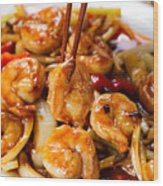 Curry Shrimp And Peppers On White Serving Plate Ready To Eat Wood Print