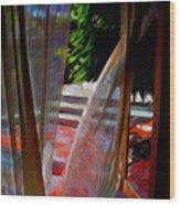 Curtains Blow Away And Back Again Wood Print