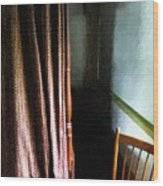 Curtains Closed Wood Print