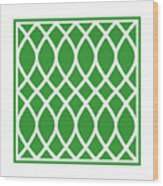 Curved Trellis With Border In Dublin Green Wood Print