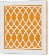 Curved Trellis With Border In Tangerine Wood Print