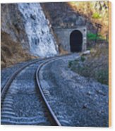Curves On The Railways At The Entrance Of The Tunnel Wood Print