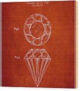 Cut Diamond Patent From 1873 - Red Wood Print