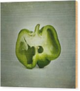 Cut Green Bell Pepper Wood Print