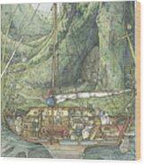 Cutaway Of Dustys Boat Wood Print