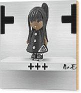 Cute 3d Girl On Shelf In Black Wood Print