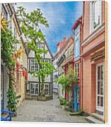 Cute And Colorful European Houses Wood Print
