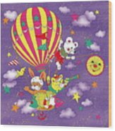 Cute Animals In Air Balloon Wood Print