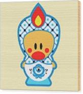 Cute Art - Blue And White Folk Art Sweet Angel Bird In A Nesting Doll Costume Wall Art Print Wood Print