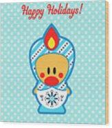 Cute Art - Blue Polka Dot Happy Holidays Folk Art Sweet Angel Bird In A Nesting Doll Costume Wall Art Print Wood Print