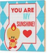 Cute Art - Sweet Angel Bird Blue You Are My Sunshine Circus Diamond Pattern Wall Art Print Wood Print