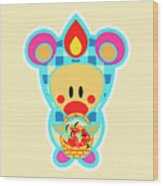 Cute Art - Sweet Angel Bird In A Bear Costume Holding A Basket Of Red Apples Wall Art Print Wood Print