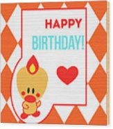 Cute Art - Sweet Angel Bird Terra Cotta Happy Birthday Circus Diamond Pattern Wall Art Print Wood Print