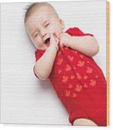Cute Baby Boy Yawning Wood Print