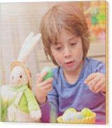 Cute Boy Enjoy Easter Holiday Wood Print
