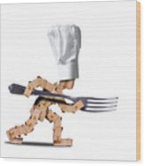 Cute Chef Box Character With Big Fork Wood Print