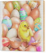 Cute Easter Chick Wood Print