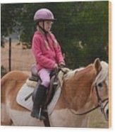 Cute Girl On Horse 2 Wood Print