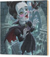 Cute Gothic Horror Vampire Woman Wood Print