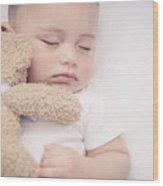Cute Little Baby Sleeping Wood Print