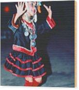 Cute Little Thai Girl Dancing Wood Print