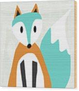 Cute Orange And Blue Fox- Art By Linda Woods Wood Print