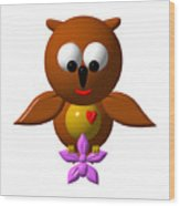 Cute Owl With Orchid Wood Print